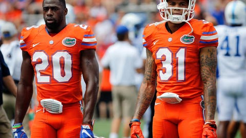 Sep 10, 2016; Gainesville, FL, USA; Florida Gators defensive back Marcus Maye (20) and defensive back  Jalen Tabor (31)  works out prior to the game against the Kentucky Wildcats at Ben Hill Griffin Stadium. Mandatory Credit: Kim Klement-USA TODAY Sports