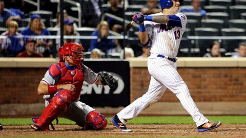 Sep 22, 2016; New York City, NY, USA; New York Mets shortstop Asdrubal Cabrera (13) hits a walk off three run home run against the Philadelphia Phillies during the 11th inning at Citi Field. The Mets won 9-8. Mandatory Credit: Andy Marlin-USA TODAY Sports