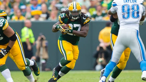 Sep 25, 2016; Green Bay, WI, USA;  Green Bay Packers running back Eddie Lacy (27) during the game against the Detroit Lions at Lambeau Field.  Green Bay won 34-27.  Mandatory Credit: Jeff Hanisch-USA TODAY Sports