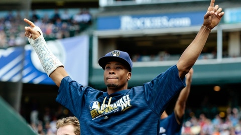 Oct 2, 2016; Denver, CO, USA; Milwaukee Brewers center fielder Keon Broxton (23) celebrates after a play in the eighth inning against the Colorado Rockies at Coors Field. Mandatory Credit: Isaiah J. Downing-USA TODAY Sports