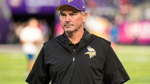 Oct 9, 2016; Minneapolis, MN, USA; Minnesota Vikings head coach Mike Zimmer looks on prior to the game against the Houston Texans at U.S. Bank Stadium. Mandatory Credit: Brace Hemmelgarn-USA TODAY Sports