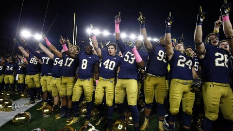 Oct 29, 2016; South Bend, IN, USA; Notre Dame Fighting Irish react to winning against the Miami Hurricanes at Notre Dame Stadium. Notre Dame defeats Miami 30-27. Mandatory Credit: Brian Spurlock-USA TODAY Sports