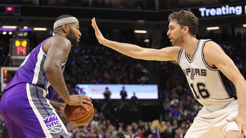 Oct 27, 2016; Sacramento, CA, USA;  Sacramento Kings center DeMarcus Cousins (15) is defended by San Antonio Spurs center Pau Gasol (16) during the second quarter at Golden 1 Center. The Spurs won the game 102-94. Mandatory Credit: Sergio Estrada-USA TODAY Sports