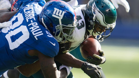 Nov 6, 2016; East Rutherford, NJ, USA; New York Giants defensive end Jason Pierre-Paul (90) tackles Philadelphia Eagles running back Darren Sproles (43) during the first half at MetLife Stadium. Mandatory Credit: William Hauser-USA TODAY Sports