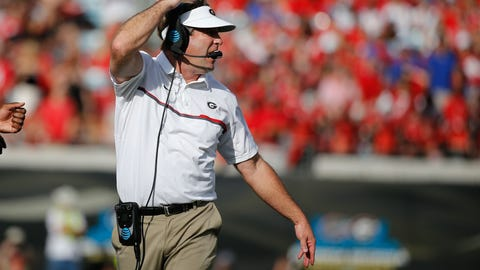 Oct 29, 2016; Jacksonville, FL, USA; Georgia Bulldogs head coach Kirby Smart calls a play against the Florida Gators during the first half at EverBank Field. Mandatory Credit: Kim Klement-USA TODAY Sports