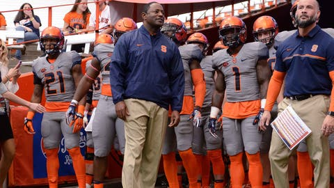 Oct 15, 2016; Syracuse, NY, USA; Syracuse Orange head coach Dino Babers leads his team onto the field to face the Virginia Tech Hokies at the Carrier Dome. Syracuse won 31-17. Mandatory Credit: Mark Konezny-USA TODAY Sports