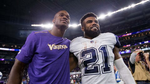 Dec 1, 2016; Minneapolis, MN, USA; Dallas Cowboys running back Ezekiel Elliott (21) and Minnesota Vikings running back Adrian Peterson (28) pose for a picture after the game at U.S. Bank Stadium. The Dallas Cowboys beat the Minnesota Vikings 17-15. Mandatory Credit: Brad Rempel-USA TODAY Sports