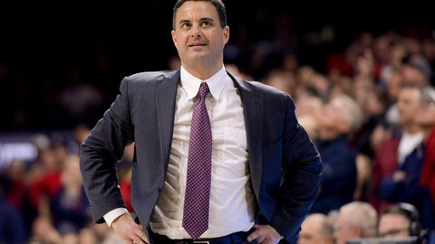 Dec 14, 2016; Tucson, AZ, USA; Arizona Wildcats head coach Sean Miller looks to the scoreboard during the second half against the Grand Canyon Lopes at McKale Center. Arizona won 64-54. Mandatory Credit: Casey Sapio-USA TODAY Sports