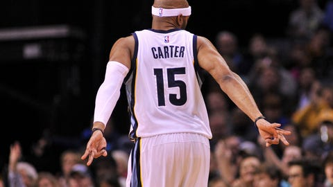 Dec 18, 2016; Memphis, TN, USA; Memphis Grizzlies guard Vince Carter (15) celebrates making a three point basket against the Utah Jazz during the first half  at FedExForum. Mandatory Credit: Justin Ford-USA TODAY Sports