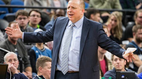 Dec 19, 2016; Minneapolis, MN, USA; Minnesota Timberwolves head coach Tom Thibodeau reacts to a call on the court during the second half against the Phoenix Suns at Target Center. The Timberwolves won 115-108. Mandatory Credit: Jesse Johnson-USA TODAY Sports
