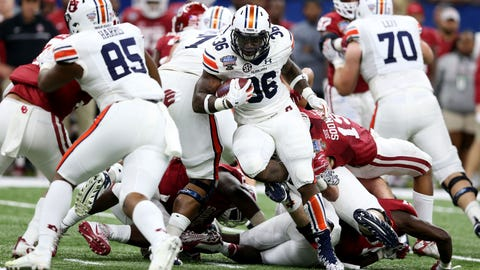 Jan 2, 2017; New Orleans , LA, USA; Auburn Tigers running back Kamryn Pettway (36) carries the ball against the Oklahoma Sooners in the second quarter at the Mercedes-Benz Superdome. Mandatory Credit: Chuck Cook-USA TODAY Sports