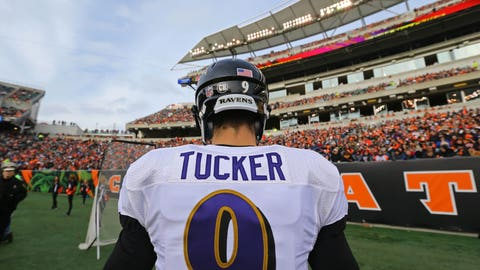 Jan 1, 2017; Cincinnati, OH, USA; Baltimore Ravens kicker Justin Tucker (9) against the Cincinnati Bengals at Paul Brown Stadium. The Bengals won 27-10. Mandatory Credit: Aaron Doster-USA TODAY Sports