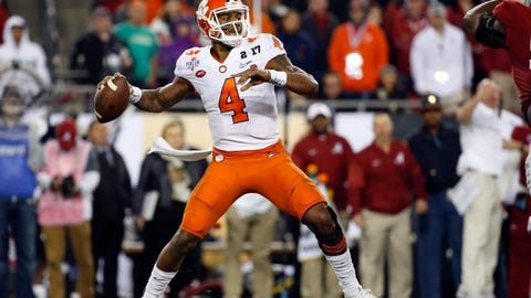 Jan 9, 2017; Tampa, FL, USA;  Clemson Tigers quarterback Deshaun Watson (4) throws the ball against the Alabama Crimson Tide in the 2017 College Football Playoff National Championship Game at Raymond James Stadium. Mandatory Credit: Kim Klement-USA TODAY Sports