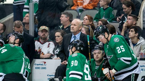 Jan 21, 2017; Dallas, TX, USA; Dallas Stars head coach Lindy Ruff and the Stars wait for the referees to review the goal by Washington Capitals center Jay Beagle (not pictured) during the overtime period at the American Airlines Center. Beagle's goal is good and the Capitals defeat the Stars 4-3 in overtime. Mandatory Credit: Jerome Miron-USA TODAY Sports