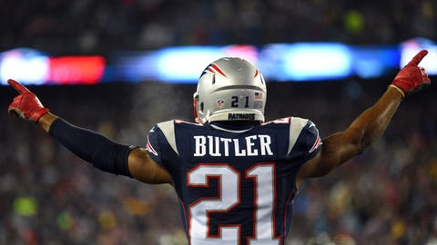 Jan 22, 2017; Foxborough, MA, USA; New England Patriots cornerback Malcolm Butler (21) reacts after a play in the first half against the Pittsburgh Steelers in the 2017 AFC Championship Game at Gillette Stadium. Mandatory Credit: James Lang-USA TODAY Sports
