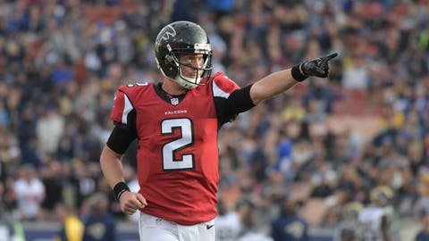 Dec 11, 2016; Los Angeles, CA, USA; Atlanta Falcons quarterback Matt Ryan (2) celebrates after throwing a 64-yard touchdown pass in the third quarter against the Los Angeles Rams during a NFL football game at Los Angeles Memorial Coliseum. Mandatory Credit: Kirby Lee-USA TODAY Sports