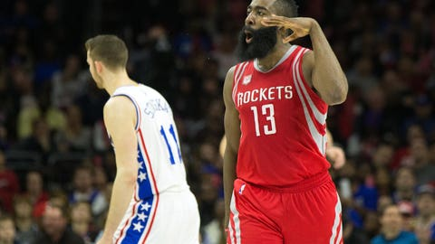 Jan 27, 2017; Philadelphia, PA, USA; Houston Rockets guard James Harden (13) reacts to his three pointer in front of Philadelphia 76ers guard Nik Stauskas (11) during the third quarter at Wells Fargo Center. The Houston Rockets won123-118. Mandatory Credit: Bill Streicher-USA TODAY Sports