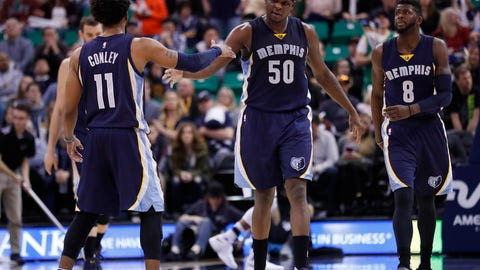 Jan 28, 2017; Salt Lake City, UT, USA;  Memphis Grizzlies forward Zach Randolph (50) is congratulated by guard Mike Conley (11) in the fourth quarter at Vivint Smart Home Arena. The Memphis Grizzlies defeated the Utah Jazz 102-95. Mandatory Credit: Jeff Swinger-USA TODAY Sports