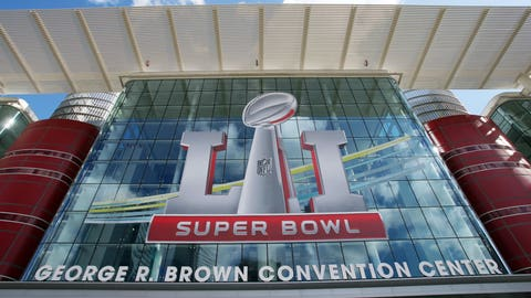 Feb 1, 2017; Houston, TX, USA; A general view of the Super Bowl logo on the George R. Brown Convention Center in preparation for Super Bowl LI. Mandatory Credit: Jerry Lai-USA TODAY Sports