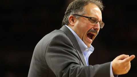 Feb 1, 2017; Auburn Hills, MI, USA; Detroit Pistons head basketball coach Stan Van Gundy reacts to a call during the third quarter of the game against the New Orleans Pelicans at The Palace of Auburn Hills. The Pistons won 118-98. Mandatory Credit: Leon Halip-USA TODAY Sports