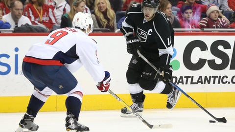 Feb 5, 2017; Washington, DC, USA; Los Angeles Kings center Anze Kopitar (11) skates with the puck as Washington Capitals defenseman Dmitry Orlov (9) defends in the first period at Verizon Center. The Capitals won 5-0. Mandatory Credit: Geoff Burke-USA TODAY Sports