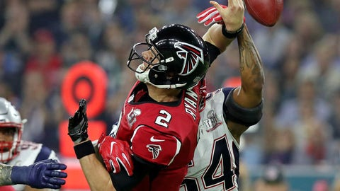 Feb 5, 2017; Houston, TX, USA; New England Patriots middle linebacker Dont'a Hightower (54) forces a fumble by Atlanta Falcons quarterback Matt Ryan (2) during the fourth quarter during Super Bowl LI at NRG Stadium. Mandatory Credit: Matthew Emmons-USA TODAY Sports