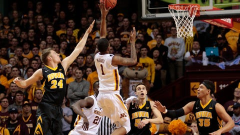 Feb 8, 2017; Minneapolis, MN, USA; Minnesota Gophers guard Dupree McBrayer (1) drives up court for a layup against the Iowa Hawkeyes at Williams Arena. Mandatory Credit: Harrison Barden-USA TODAY Sports