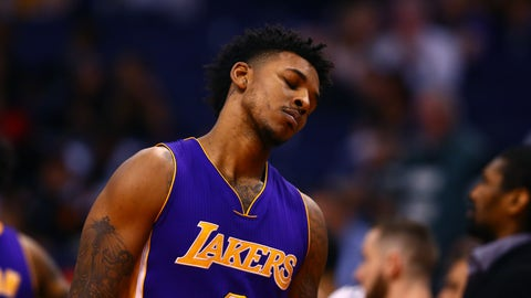 Feb 15, 2017; Phoenix, AZ, USA; Los Angeles Lakers guard Nick Young reacts in the closing seconds of the game against the Phoenix Suns at Talking Stick Resort Arena. The Suns defeated the Lakers 137-101. Mandatory Credit: Mark J. Rebilas-USA TODAY Sports