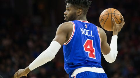 Feb 11, 2017; Philadelphia, PA, USA; Philadelphia 76ers forward Nerlens Noel (4) in action against the Miami Heat during the second quarter at Wells Fargo Center. Mandatory Credit: Bill Streicher-USA TODAY Sports