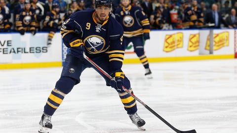 Feb 18, 2017; Buffalo, NY, USA; Buffalo Sabres left wing Evander Kane (9) against the St. Louis Blues at KeyBank Center. Mandatory Credit: Timothy T. Ludwig-USA TODAY Sports