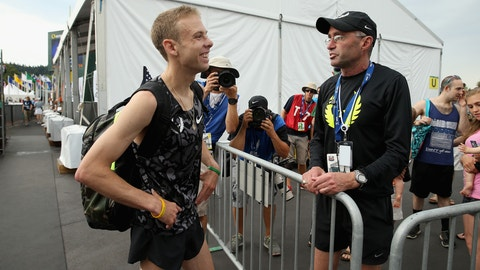 EUGENE, OR - JUNE 28:  Galen Rupp talks with Alberto Salazar after the Mens 5,000 Meter during day four of the 2015 USA Outdoor Track & Field Championships  at Hayward Field on June 28, 2015 in Eugene, Oregon.  (Photo by Andy Lyons/Getty Images)