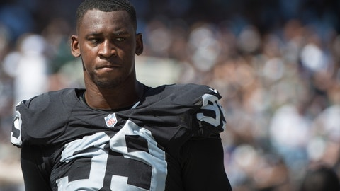September 20, 2015; Oakland, CA, USA; Oakland Raiders defensive end Aldon Smith (99) during the first quarter against the Baltimore Ravens at O.co Coliseum. The Raiders defeated the Ravens 37-33. Mandatory Credit: Kyle Terada-USA TODAY Sports