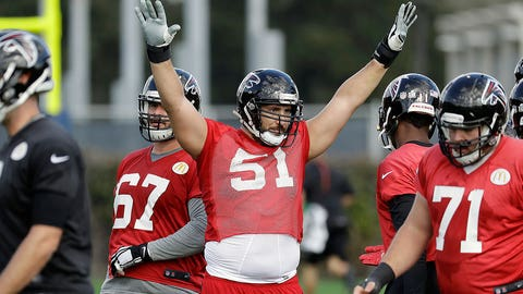 Atlanta Falcons center Alex Mack (51) signals to teammates during a practice for the NFL Super Bowl 51 football game Wednesday, Feb. 1, 2017, in Houston. Atlanta will face the New England Patriots in the Super Bowl Sunday. (AP Photo/Eric Gay)