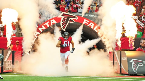 ATLANTA, GA - SEPTEMBER 11: Alex Mack #51 of the Atlanta Falcons is introduced before the game the Tampa Bay Buccaneers at the Georgia Dome on September 11, 2016 in Atlanta, Georgia. (Photo by Scott Cunningham/Getty Images)