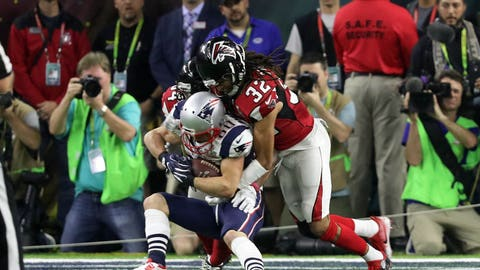 Largest deficit overcome to win: 25 points, Patriots