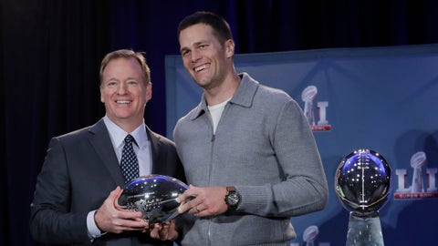 NFL commissioner Roger Goodell and New England Patriots quarterback Tom Brady pose with the MVP trophy during a news conference after the NFL Super Bowl 51 football game Monday, Feb. 6, 2017, in Houston. Brady was named the MVP of Super Bowl 51. (AP Photo/Morry Gash)