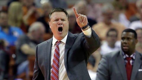Kansas coach Bill Self calls to his players during the second half of an NCAA college basketball game against Texas, Saturday, Feb. 25, 2017, in Austin, Texas. Kansas won 77-67. (AP Photo/Eric Gay)