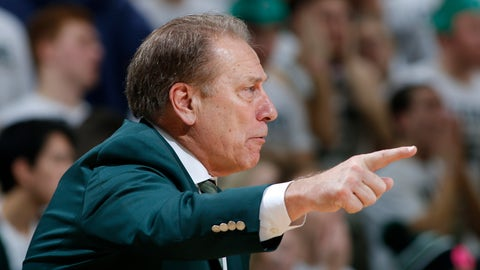 Michigan State coach Tom Izzo gives instructions during the second half of an NCAA college basketball game against Michigan, Sunday, Jan. 29, 2017, in East Lansing, Mich. Michigan State won 70-62. (AP Photo/Al Goldis)