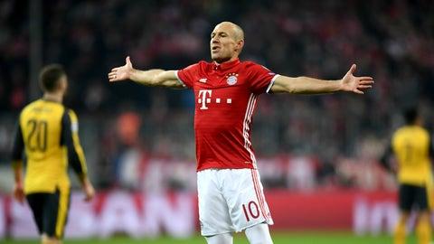 Arjen Robben (Bayern 5-1 Arsenal) round of 16 first leg, Feb. 15, 2017