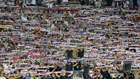 Olympique Lyonnais supporters cheer their team prior the Champions League group H soccer match between Olympique Lyonnais and Dinamo Zagreb at the stadium Parc Olympique Lyonnais in Decines Charpieu.Decines Charpieu (Rhone) FRANCE-14/09/2016. (Sipa via AP Images)