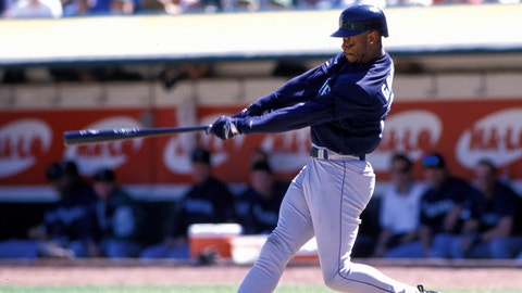 Seattle Mariners Ken Griffey Jr. (24) in action during a game from his1997 season. Ken Griffey Jr. played for 22 years with 3 different teams, was a 13-time All-Star, 1997 American League MVP winner.(AP Photo/David Durochik)