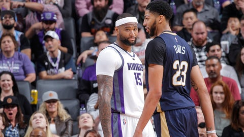 SACRAMENTO, CA - FEBRUARY 12: DeMarcus Cousins #15 of the Sacramento Kings looks over at Anthony Davis #23 of the New Orleans Pelicans on February 12, 2017 at Golden 1 Center in Sacramento, California. NOTE TO USER: User expressly acknowledges and agrees that, by downloading and or using this photograph, User is consenting to the terms and conditions of the Getty Images Agreement. Mandatory Copyright Notice: Copyright 2017 NBAE (Photo by Rocky Widner/NBAE via Getty Images)