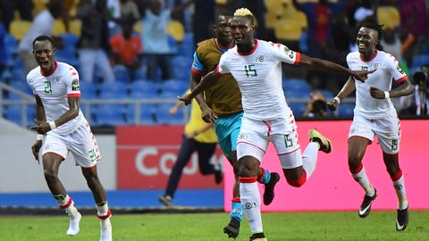 Burkina 's Joy Bance during the 2017 Africa Cup of Nations (CAN) quart de finale match Burkina Faso vs Tunisie held at Stade de l'Amitie in Libreville, Gabon on January 28, 2017. Photo by Christian Liewig/Sipa USA(Sipa via AP Images)