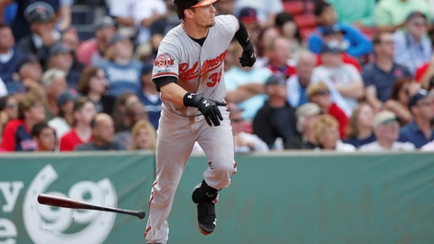 Sep 10, 2014; Boston, MA, USA; Baltimore Orioles catcher Caleb Joseph (36) hits an RBI double during the eighth inning against the Boston Red Sox at Fenway Park. Mandatory Credit: Greg M. Cooper-USA TODAY Sports