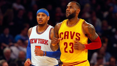 NEW YORK, NY - MARCH 26:  (NEW YORK DAILIES OUT)    Carmelo Anthony #7 of the New York Knicks in action against LeBron James #23 of the Cleveland Cavaliers at Madison Square Garden on March 26, 2016 in New York City. The Cavaliers defeated the Knicks 107-93.  NOTE TO USER: User expressly acknowledges and agrees that, by downloading and/or using this Photograph, user is consenting to the terms and conditions of the Getty Images License Agreement.  (Photo by Jim McIsaac/Getty Images)