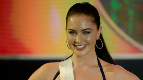 Miss Canada Siera Bearchell participates in a swimwear fashion show in Cebu City, central Philippines on January 17, 2017. 