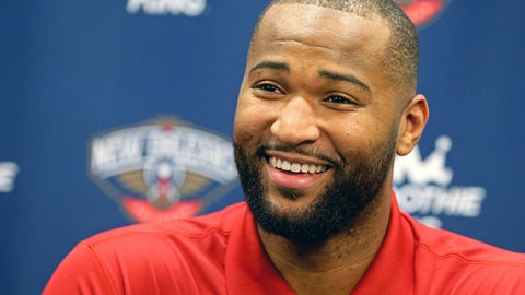 Feb 22, 2017;  Metairie, LA, USA; DeMarcus Cousins was introduced by the New Orleans Pelicans at a press conference at the New Orleans Pelicans Practice Facility. He and Omri Casspi came to the Pelicans in a trade from the Sacramento Kings. Mandatory Credit: Chuck Cook-USA TODAY Sports