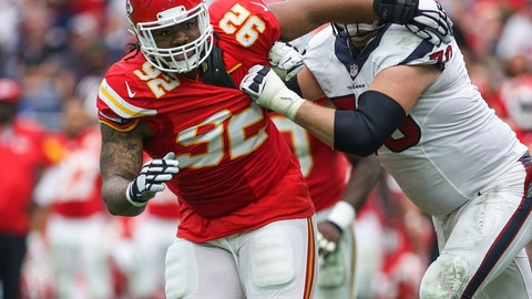 Sep 13, 2015; Houston, TX, USA; Kansas City Chiefs nose tackle Dontari Poe (92) in action during a game against the Houston Texans at NRG Stadium. Mandatory Credit: Troy Taormina-USA TODAY Sports