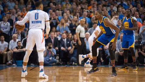OKLAHOMA CITY, OK - FEBRUARY 11:   Golden State Warriors Forward Kevin Durant (35) guarding Oklahoma City Thunder Guard Russell Westbrook (0)  on February 11, 2017, at the Chesapeake Energy Arena Oklahoma City, OK. (Photo by Torrey Purvey/Icon Sportswire via Getty Images)