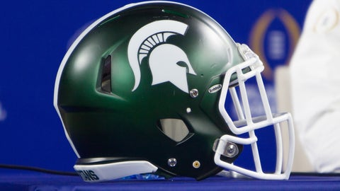 December 29, 2015: Michigan State Spartans helmet during the NCAA Football Playoff Semifinal Cotton Bowl media day at ATT Stadium in Arlington, Texas. (Photo by William Purnell/Icon Sportswire) (Photo by William Purnell/Icon Sportswire/Corbis via Getty Images)